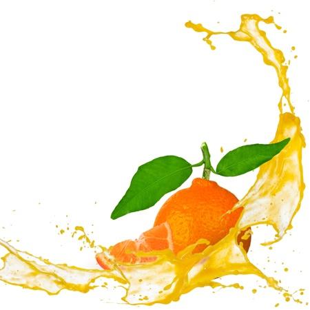 Tangerine with splash isolated on white photo