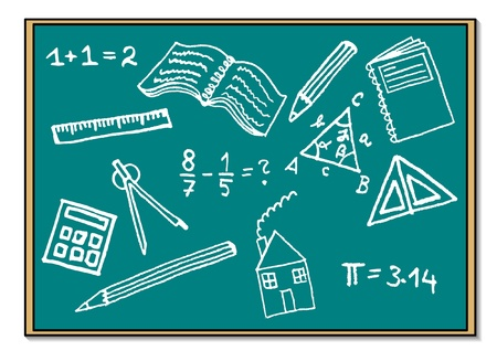 Blue blackboard with school symbols Vector