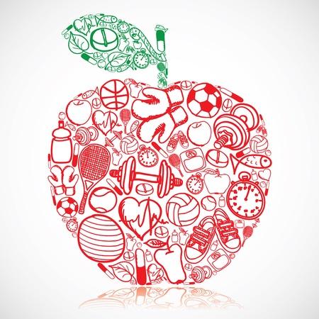 buena salud: Apple hizo de los símbolos de fitness Vectores