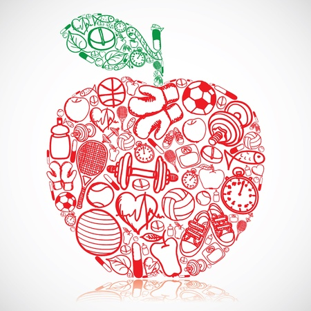 Apple made of fitness symbols  Vector