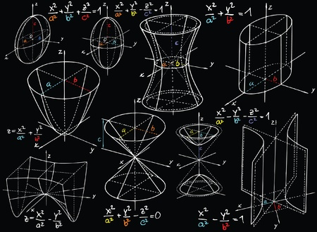 parabola: Blackboard with colored mathematics formula and sketches
