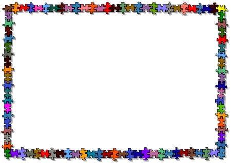 many coloured: Colored puzzle frame  Illustration