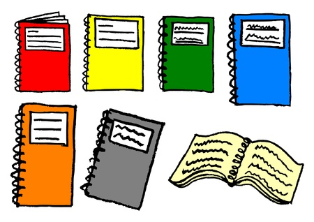 exercisebook: Collection of colored exercise books