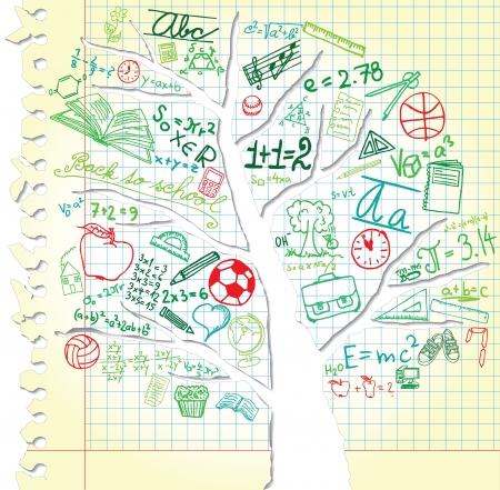fizika: Papír, fa és színes iskolai szimbólumok Illusztráció