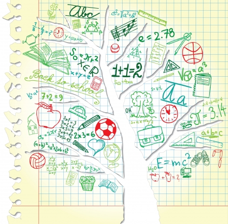 exercisebook: Paper with tree and colorful school symbols Illustration