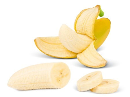 peeled banana: Banana with slices isolated on white