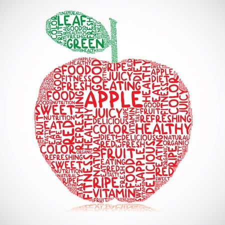 eat healthy: Illustration of apple made of colored words