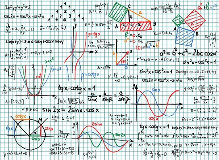 physic: Paper with colored mathematics sketches and formula  Illustration