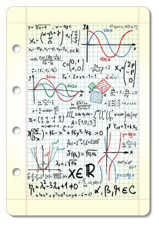 graph paper: Squared pad with mathematical sketches and formulas