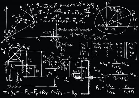 Blackboard met mechanische schetsen en formules