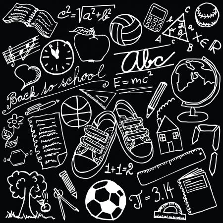 Blackboard with school symbols Vector
