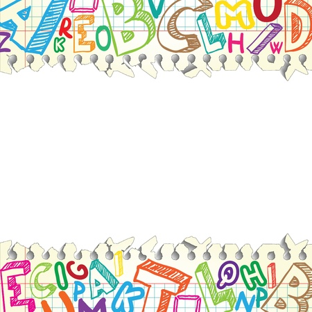 alphabet wallpaper: Background made of papers with colorful letters Illustration