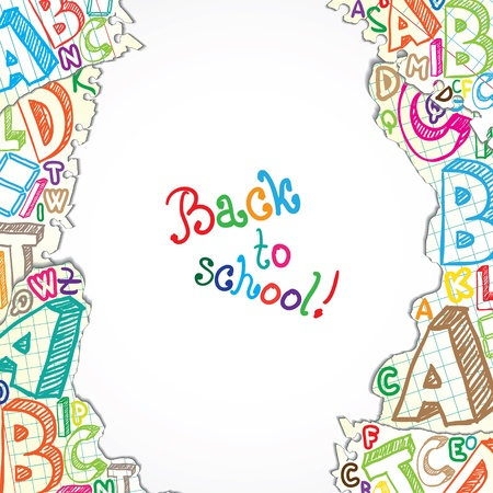 preschool poster: Background made of papers with colorful letters Illustration