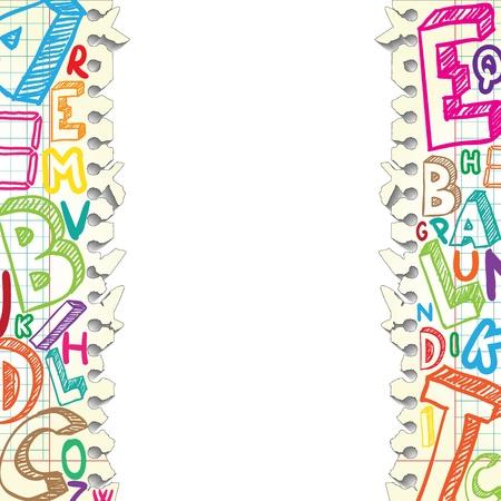 alphabetical letters: Antecedentes hecha de papeles con letras de colores Vectores