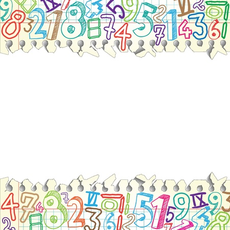 simbolos matematicos: Antecedentes hecha de papeles con n�meros de colores Vectores