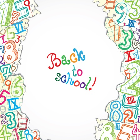 arithmetic: Background made of papers with colorful numbers Illustration