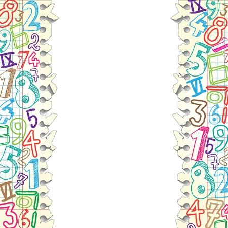 simbolos matematicos: Antecedentes hecha de papeles con números de colores Vectores