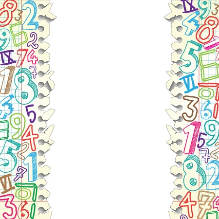 mathematical symbol: Background made of papers with colorful numbers Illustration