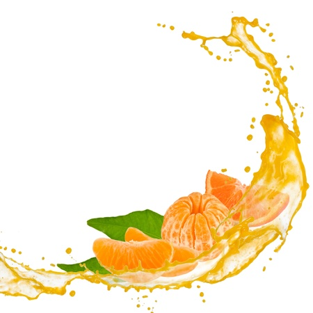 Tangerine slices with splash and leaves isolated on white