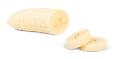 peeled banana: Banana slices isolated on white