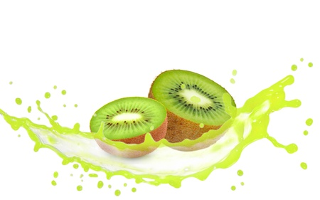 Kiwi slices with splash isolated on white photo