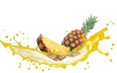 Pineapple with slice and splash isolated on white Zdjęcie Seryjne