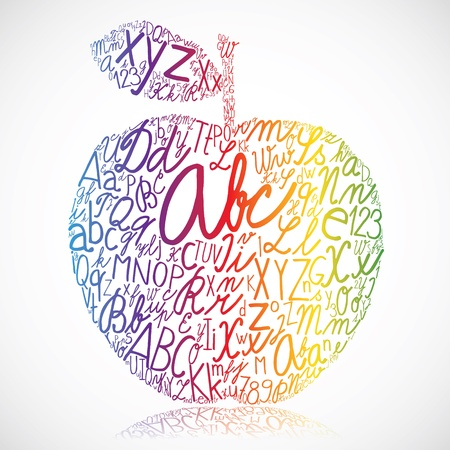 letterpress words: Rainbow apple made of alphabet letters