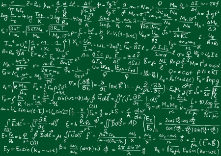 the theory of relativity: Blackboard with physical formulas
