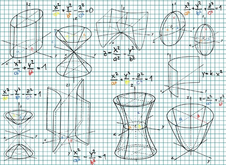 squared: Paper with colored mathematics formula and sketches  Illustration