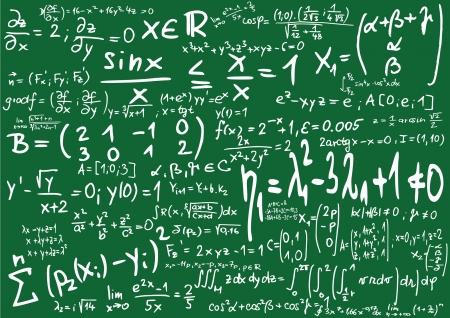 Green blackboard with mathematics formula
