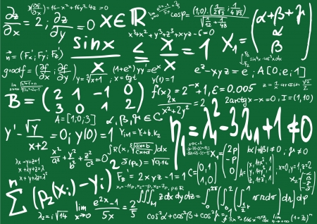 physics: Green blackboard with mathematics formula