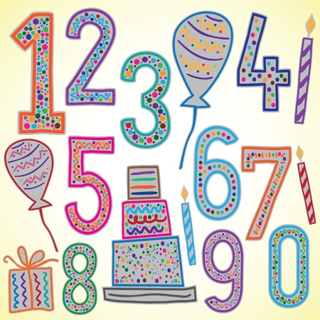 number candles: Birthday numbers  Illustration