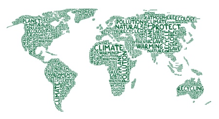 Illustration of continents made of ecology words Vector