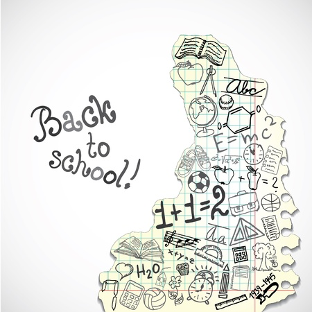 exercisebook: Background made of paper with school symbols Illustration
