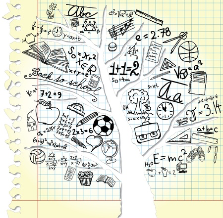 Paper with tree and school symbols Vector