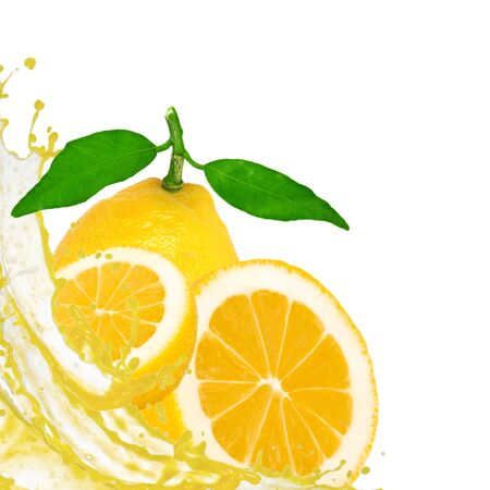 Lemon with slices and splash isolated on white photo