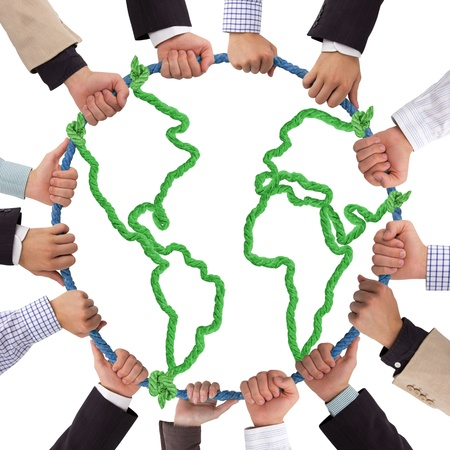 Hands holding rope forming Earth Stock Photo - 14537244