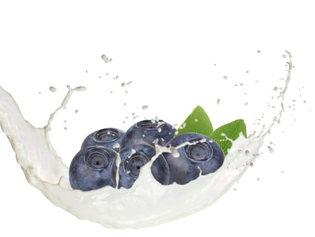 Milk splash with blueberries isolated on white photo