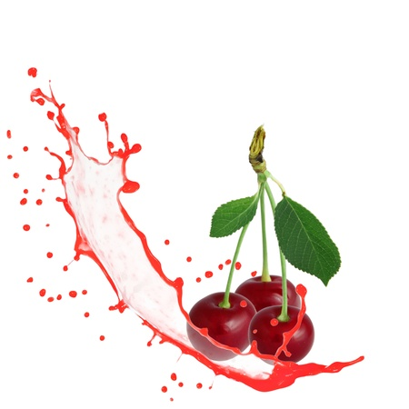 Cherry with splash isolated on white photo