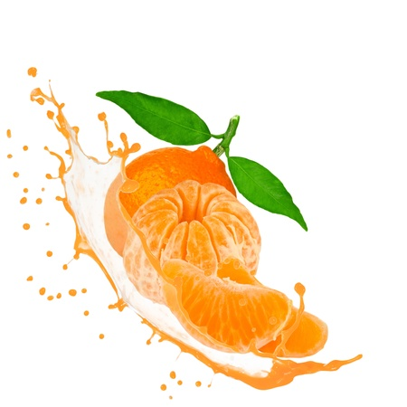 Tangerine with splash isolated on white