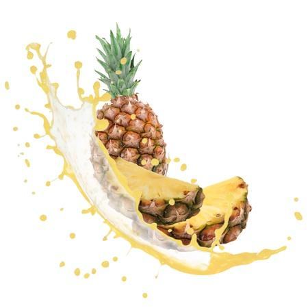Pineapple with splash isolated on white photo