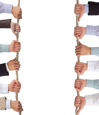 Hands holding rope, conceptual background Stock Photo - 14738810