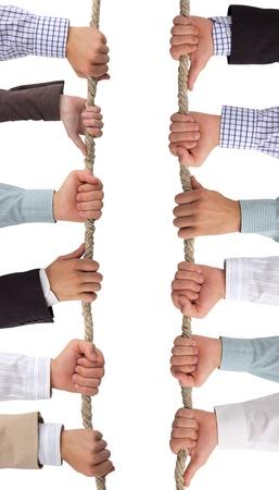 fraternidad: Manos que sostienen la cuerda, fondo conceptual