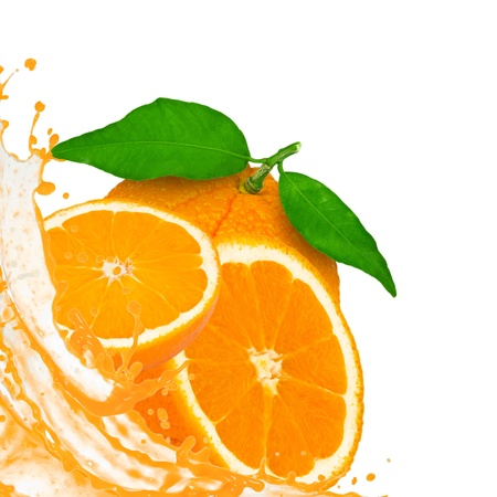 Orange with slices and splash isolated on white photo