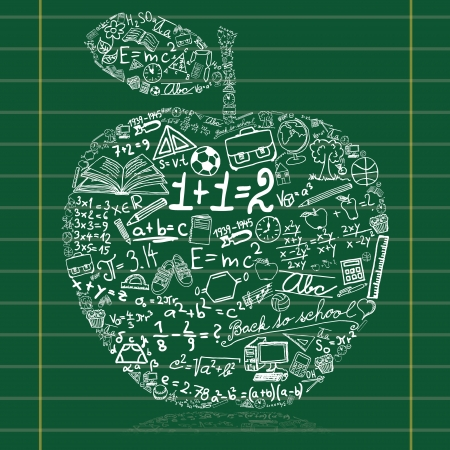 physic: Blackboard with apple made of school symbols