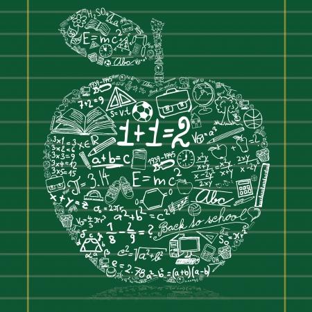 fizika: Tábla almával készült iskolai szimbólumok Illusztráció