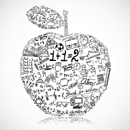 math: Apple made of school symbols