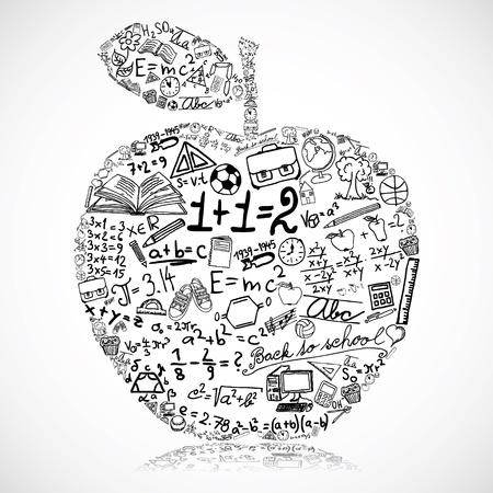 theory: Apple made of school symbols