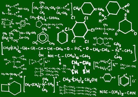 Blackboard with chemical formulas  Vector