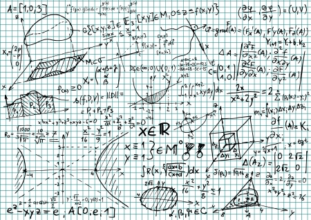 Squared paper with mathematical equations and sketches Vector